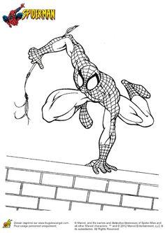 Illustration de Spiderman sur le toit d'un building, à colorier Marvel Coloring, Comic Art, Illustration, Geek Stuff, Comics, Creative, Fictional Characters, Fun Crafts, Google