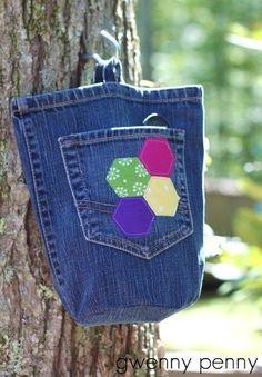 """Ideas para el hogar: Reciclando jeans viejos """"Bolso"""""""