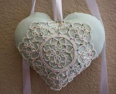 Mint green pin beaded heart