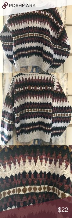 Vintage oversized Sweater Vintage Mark Alexander knitted sweater in a beautiful print. Sz XL, would  look great on a man or woman. Would fit oversized on a woman. Perfect for these colder months. Mark Alexander Sweaters Crew & Scoop Necks