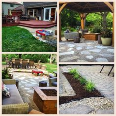 This was a fun project from the summer.  The homeowners wanted to remove their deck and somehow unify it with their existing patio.  We went with pea gravel and stone for their pergola area.  And a bed of grasses now divides the two entertaining areas of their outdoor space. The top left photo is what the space looked like before. #gardendesigner #landscapedesign #lamdscapedesigner #gardendesign #outdoorspaces #garden #beforeandafter #basilandbegonia #jardin #gardening…