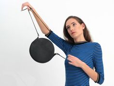 Black Crossbody Bag - Black Leather Circle Purse Round Cross Body Bag Black Small Handbag #black #leather #tote #bag #fashion #style #gift #accessories Circle Purse, Round Bag, Black Leather Crossbody Bag, Black Purses, Black Cross Body Bag, Shoulder Bag, Tote Bag, Gift, Bags