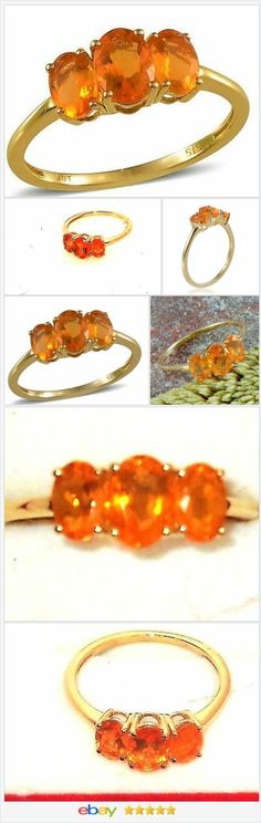 50% OFF #EBAY http://stores.ebay.com/JEWELRY-AND-GIFTS-BY-ALICE-AND-ANN  Jalisco Fire Opal 10 K Yellow Gold 3 Stone Ring 1.30 Carats. Size 8
