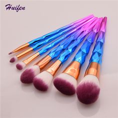 7pcs Makeup Brushes Set Diamond Rainbow Handle Cosmetic Tools Powder Foundation Unicorn Brush 20sets/lot (YP0129)