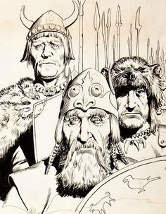 Hal Foster: Detail of (misc) Prince Valiant panels