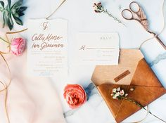 Copper calligraphy invite with a leather envelope