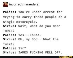 Picture memes — iFunny - m incorrectmarauders Police: You're under arrest for trying to carry three people on a single mot - Harry Potter Comics, Harry Potter Puns, Harry Potter Universal, Harry Potter World, Drarry, Disney Memes, Hogwarts, Slytherin, No Muggles