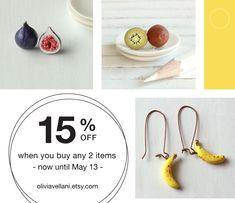 handmade food art, realistic miniature food art jewelry by oliviavellani Etsy Coupon, Jewelry Art, Unique Jewelry, Polymer Clay Miniatures, Miniature Food, Food Art, Sunday, Shop My, Eat