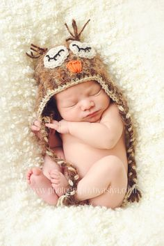 Crochet Fuzzy Baby Owl Hat, Multiple Sizes. $20.00, via Etsy.
