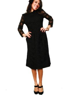 Rosana black lace 80s dress