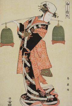 Sparrows of Yoshiwara.  Ukiyo-e woodblock print, 1790- 810 ,  Japan, by artist Katsukawa Shun'ei.