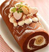その他のバレンタインレシピ「バナナ入りチョコロールケーキ」