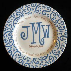 Handpainted Platter  Monogrammed Plate  Wedding by cutiepatooties1