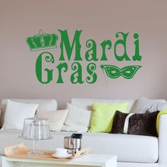 Mardi Gras Text Sign Wall sticker dec