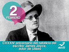 2 de febrero  CXXXIV aniversario del natalicio del escritor James Joyce, autor de Ulises