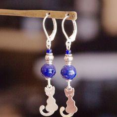 Dormeuses argent 925 lapis lazuli d'aghanistan