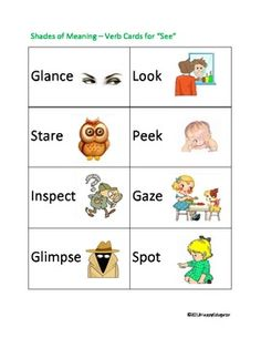 """Shades of Meaning Verb Cards - SEE. Cut out and laminate these 16 different cards illustrating different synonyms of the verb """"SEE"""" Helps students . English Language Learners, Teaching Language Arts, Vocabulary Activities, Language Activities, Ell Strategies, English Writing, English Class, Shades Of Meaning, Other Ways To Say"""