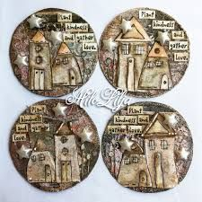 PaperArtsy: 2018 Topic Artist Trading Coins {Topic Introduction and Challeng. PaperArtsy: 2018 Topic Artist Trading Coins {Topic Introduction and Challenge} Man Crafts, Diy And Crafts, Paper Crafts, Art And Hobby, Art Trading Cards, Coin Art, Atc Cards, Tag Art, Christmas Art