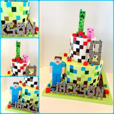 https://flic.kr/p/emzKup | Minecraft cake | Here's another cake with those pixels/squares;). What is in the water these days with Minecraft?  Everyone seems to be playing that game!