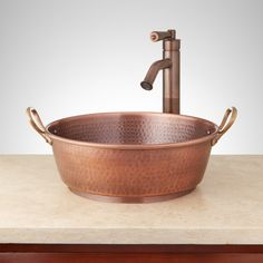 "18"" Copper Bucket Vessel Sink - Hammered - Brass Handle"