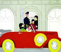 """George driving inside The Beatles' house; """"Yellow Submarine"""""""