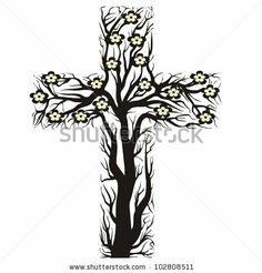 Tree from a cross | floral christian cross, tree shape on a white background - stock photo