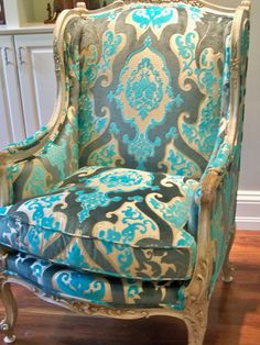 Victoria Dreste Designs: An Antique French Wing Chair recovered in cut velvet turquoise fabric.