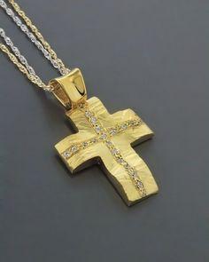 Σταυρός βαπτιστικός χρυσός Κ14 με Ζιργκόν