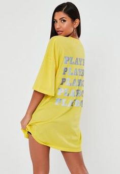Playboy x Missguided Yellow Reflective Repeat Print T Shirt Dress. Order today & shop it like it's hot at Missguided. Slogan T Shirt Dress, Grey T Shirt Dress, Oversized T Shirt Dress, Dresses Uk, Cute Dresses, Dresses Online, Fashion Dresses, Black Outfit Edgy, Going Out Dresses