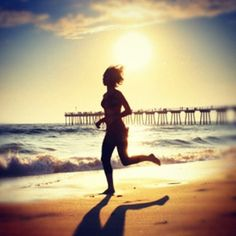 This is an image of a woman running on the beach.  Many people associate the beach with happiness.  In my speech, I want to associate exercise with happiness also.  This  is a great comparison of the two and it could also be a great form of exercise to urge the audience to try and do.