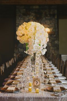 Beautiful full cascading centerpieces | Corrina Walker Photography | Cherry Tree Occasions
