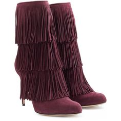 Paul Andrew Fringed Suede Booties (1 428 AUD) ❤ liked on Polyvore featuring shoes, boots, ankle booties, purple, suede bootie, fringe bootie, high heels stilettos, suede fringe booties and fringe boots
