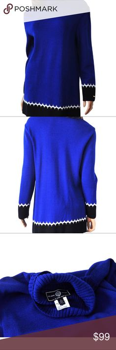"""St John Sport Royal Blue Black Santana Knit St John Sport Long tunic sweater Size: Small Pre-owned, excellent, clean condition.  This is a fabulous santana knit turtleneck tunic sweater from St. John Sport. Royal blue, black, and white teamed with silver tone beads make this a very striking piece. Silver tone St John plaque at bottom of left sleeve. Approximate Measurements Taken Flat Across Jacket Shoulder to shoulder: 18"""" Underarm to Underarm: 19"""" Length (from the top of the shoulder to…"""