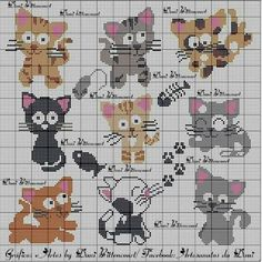 56 New Ideas For Crochet Cat Bookmark Pattern Punto Croce Cross Stitch Boards, Mini Cross Stitch, Cross Stitch Animals, Cat Cross Stitches, Cross Stitch Needles, Cross Stitching, Chat Crochet, Crochet Cross, Crewel Embroidery
