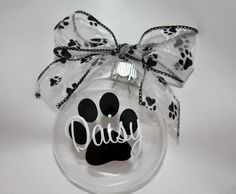 Personalized Doggie paw print Ornament - Christmas. $10.00, via Etsy.