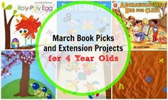 March books for 4 year olds and extension crafts and activities for Easter, St. Patrick's Day, Spring, and  more!