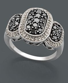 Diamond Ring, Sterling Silver Black Diamond and White Diamond Oval (1 ct. t.w.) - Rings - Jewelry & Watches - $255