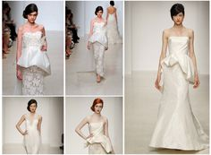2013 peplum wedding dresses:Pretty peplums are the perfect balancing act for 2013's brides. A structured flare effect cinches the waist, adding dimension and creating an hourglass illusion.