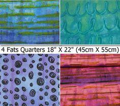 Rabais 15%, 4 fats quarters, bundle, Graffetti, by Kimberly Rado, Riverwoods, Vous obtiendrez 1 pièce de chaque motif,