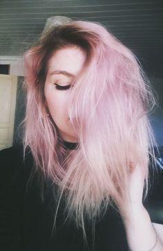 http://blackmoon-dust.tumblr.com/ pink hair pastel pink nu goth goth gothic dark fashion dark roots mid hair hair style candy