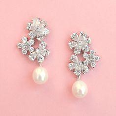 Kate Ketzal  Petals & Pearl Drop Earrings