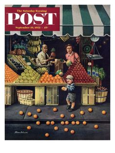 """Towddler and Oranges"" Saturday Evening Post Cover, September 19, 1953"