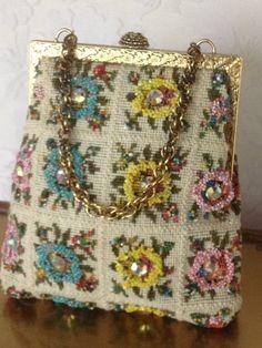Vintage Delill Rhinestone & Beaded Handbag