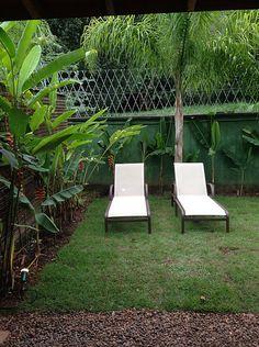 Casa de praia. Jardim com gramado e pedriscos. Espreguiçadeiras. Área de descanso. Paisagismo.