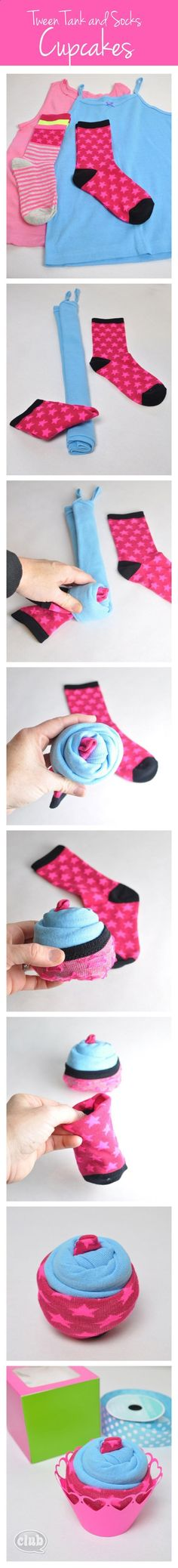 Homemade Cupcake Gift Box Idea for Tween Girl DIY - turn a colorful tank and a cool pair of socks into super cute cupcakes!