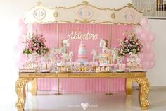 Carousel dessert table from an Enchanted Carousel Birthday Party on Kara's… Carousel Birthday Parties, Circus Party, 1st Birthday Parties, Baby Party, Baby Shower Parties, Carrousel, Girl First Birthday, Unicorn Party, Dessert Table