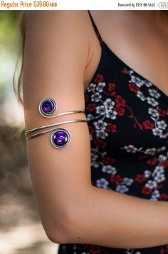 Arm cuff, upper arm bracelet, Armlet, Armband, Silver cuff, Painted stones, Gypsy, Boho, Beach, Upper arm, Jewelry, Indian, Arm cuff, Gift