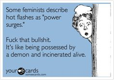 Some feminists describe hot flashes as power surges. Fuck that bullshit. It's like being possessed by a demon and incinerated alive..