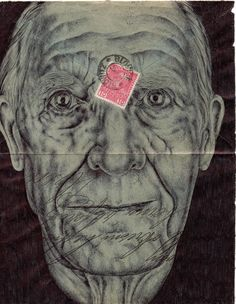 London-based artist Mark Powell has chosen the backs of old envelopes as a canvas for these delicately rendered portraits of the elderly, using nothing more than a standard Bic Biro pen to create the. Biro Drawing, The Incredibles, Postage Stamp Art, Cool Artwork, Vintage Art, Drawings, Mark Powell, Portrait, Envelope Art