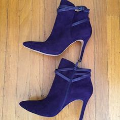 """Pour La Victoire Candence Ankle Boots Style: Cadence- Color:Plum - Material Kid Suede/Nappa leather size- 9M- Pointed Toes, Wraparound ankle strap-  these are sold out online at Niemen Marcus- I love them but they are a little big on me and I can't walk the way I'd like in them- so after two wears for a short time - I'm selling them - My lost your gain - 4"""" covered heels Pour la Victoire Shoes Ankle Boots & Booties"""